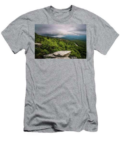 Men's T-Shirt (Athletic Fit) featuring the photograph Rough Ridge Overlook Viewing Area Off Blue Ridge Parkway Scenery by Alex Grichenko