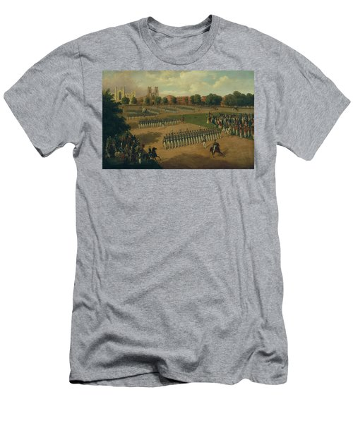 Men's T-Shirt (Athletic Fit) featuring the painting Seventh Regiment On Review, Washington Square, New York by Otto Boetticher