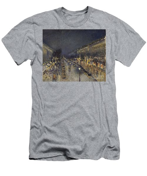 Men's T-Shirt (Athletic Fit) featuring the painting The Boulevard Montmartre At Night by Camille Pissarro