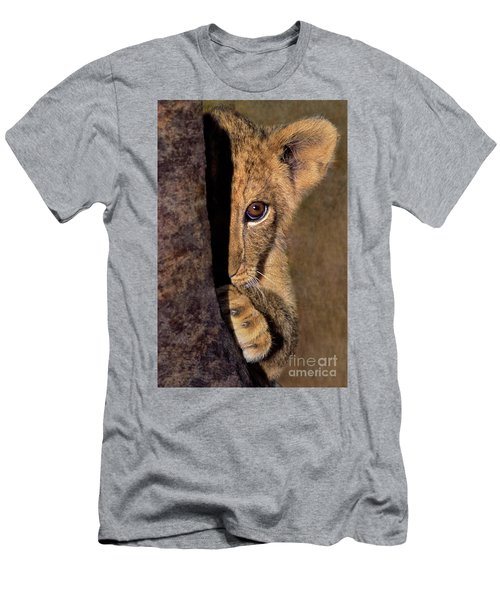 A Lion Cub Plays Hide And Seek Wildlife Rescue Men's T-Shirt (Athletic Fit)