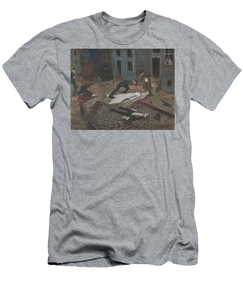 Men's T-Shirt (Athletic Fit) featuring the drawing A Scary Nighttime Scene by Ivar Arosenius