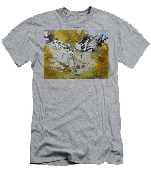 Abstract Cat Face Yellows And Browns Men's T-Shirt (Athletic Fit)
