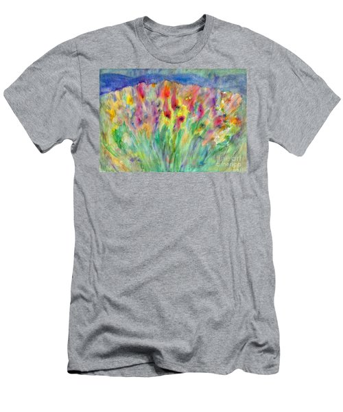 Men's T-Shirt (Athletic Fit) featuring the painting Alpine Meadow by Irina Dobrotsvet