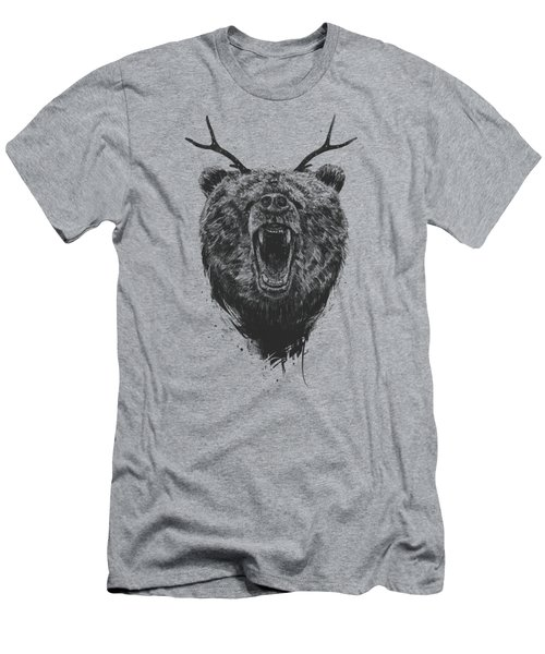 Angry Bear With Antlers Men's T-Shirt (Athletic Fit)