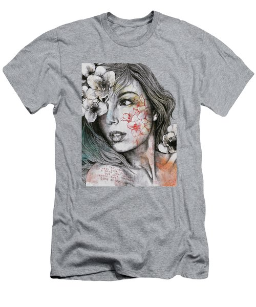 Mascara - Expressive Female Portrait With Freesias Men's T-Shirt (Athletic Fit)