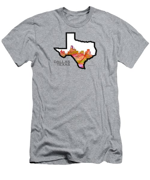 Us State Maps - Text Dallas Texas - Summer Swirl Men's T-Shirt (Athletic Fit)