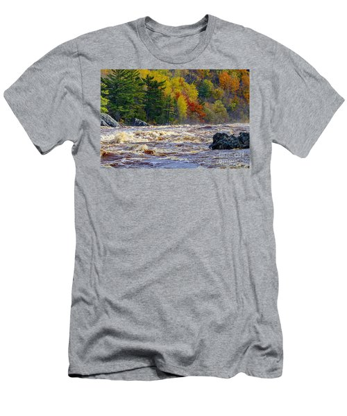 Autumn Colors And Rushing Rapids   Men's T-Shirt (Athletic Fit)