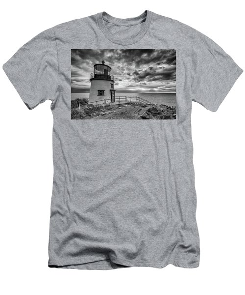 Men's T-Shirt (Athletic Fit) featuring the photograph Autumn Morning At Owls Head Black And White by Rick Berk