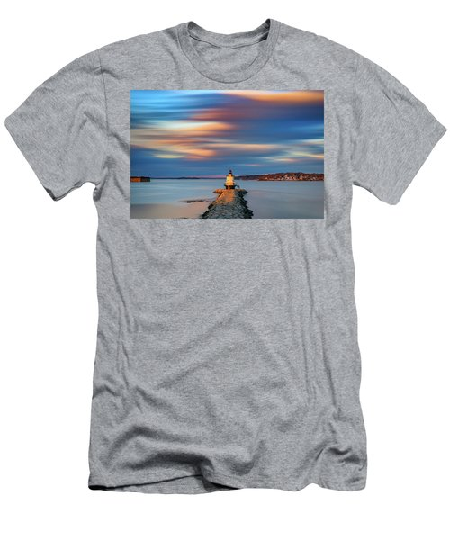 Men's T-Shirt (Athletic Fit) featuring the photograph Autumn Skies At Spring Point Ledge Lighthouse by Rick Berk