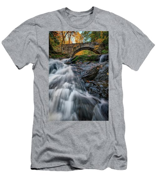 Men's T-Shirt (Athletic Fit) featuring the photograph Autumn Waterfall In Hallowell by Rick Berk