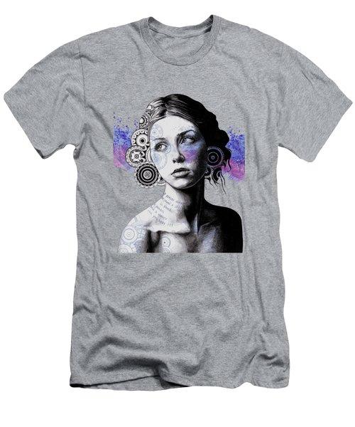 Ayil - Vintage Lady Portrait, Mandala Doodles Sketch Men's T-Shirt (Athletic Fit)