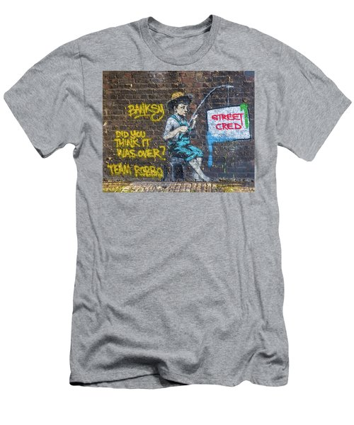 Men's T-Shirt (Athletic Fit) featuring the photograph Banksy Boy Fishing Street Cred by Gigi Ebert