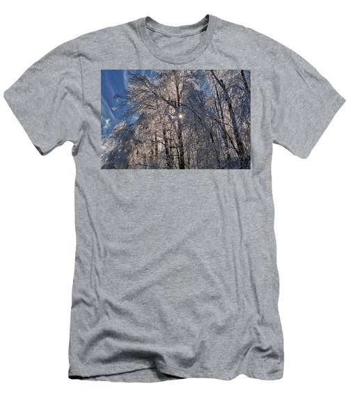 Men's T-Shirt (Athletic Fit) featuring the photograph Bass Lake Trees Frozen by Meta Gatschenberger