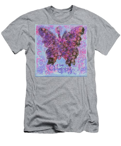 Be Happy 2 Butterfly Men's T-Shirt (Athletic Fit)