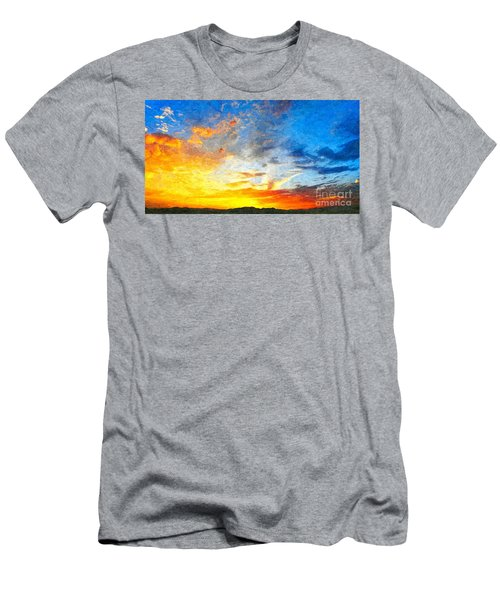 Beautiful Sunset In Landscape In Nature With Warm Sky, Digital A Men's T-Shirt (Athletic Fit)