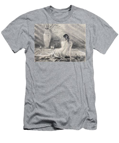 Men's T-Shirt (Athletic Fit) featuring the painting Before The Bath by Steve Henderson