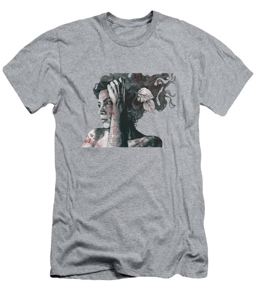 Beneath Broken Earth - Red Wine - Street Art Drawing, Woman With Leaves And Tattoos Men's T-Shirt (Athletic Fit)
