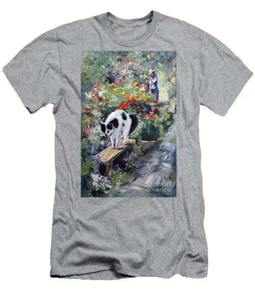 Men's T-Shirt (Athletic Fit) featuring the painting Bicolour Cat In Rose Garden by Ryn Shell