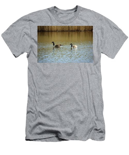 Bidston.  Bidston Moss Wildlife Reserve. Two Geese. Men's T-Shirt (Athletic Fit)
