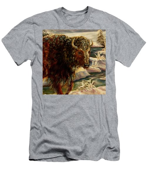 Bison In The Depths Of Winter In Yellowstone National Park Men's T-Shirt (Athletic Fit)