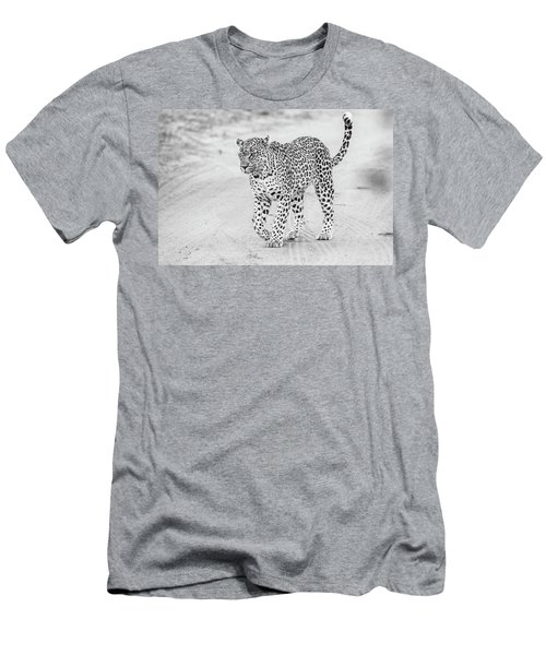 Black And White Leopard Walking On A Road Men's T-Shirt (Athletic Fit)