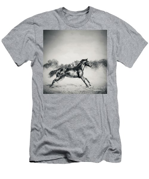 Men's T-Shirt (Athletic Fit) featuring the photograph Black Stallion Horse by Dimitar Hristov