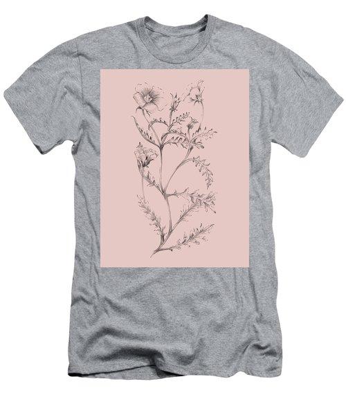 Blush Pink Flower Illustration I Men's T-Shirt (Athletic Fit)