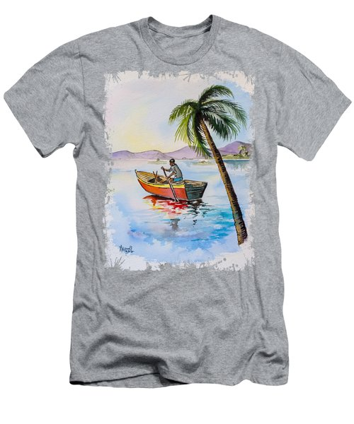 Boat And Palm Men's T-Shirt (Athletic Fit)