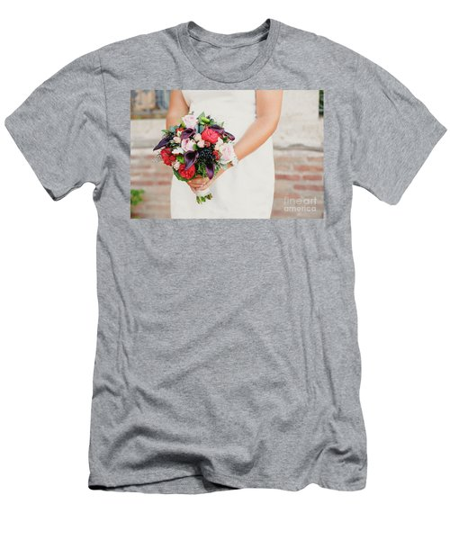 Bridal Bouquet Held By Her With Her Hands At Her Wedding Men's T-Shirt (Athletic Fit)