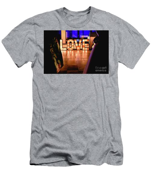 Bright Wooden Letters With Word Love In A Party Men's T-Shirt (Athletic Fit)