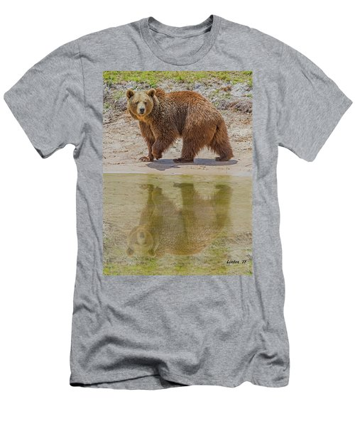 Men's T-Shirt (Athletic Fit) featuring the photograph Brown Bear Reflection by Larry Linton