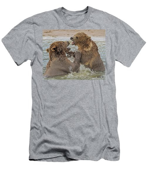 Men's T-Shirt (Athletic Fit) featuring the digital art Brown Bears Fighting by Larry Linton