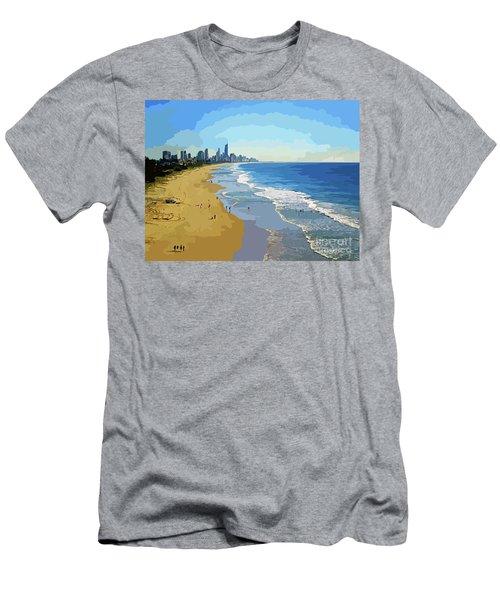 Burleigh Beach Gold Coast Australia 070708 Cartoon Men's T-Shirt (Athletic Fit)