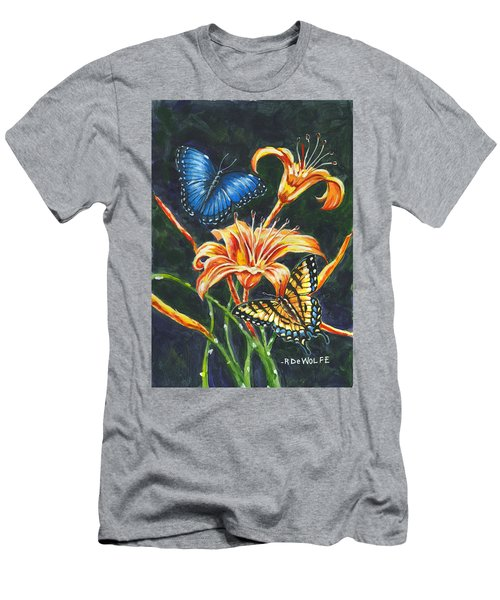 Butterflies And Flowers Sketch Men's T-Shirt (Athletic Fit)