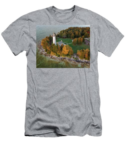 Men's T-Shirt (Athletic Fit) featuring the photograph Cana Island Lighthouse At Dawn by Adam Romanowicz