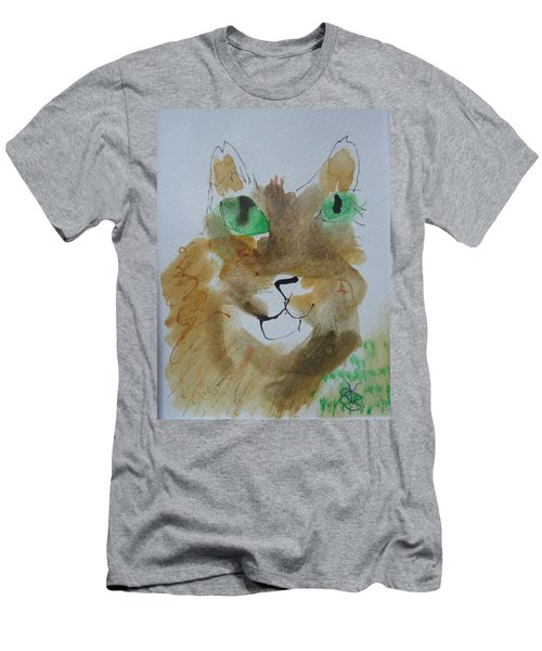 Cat Face Yellow Brown With Green Eyes Men's T-Shirt (Athletic Fit)