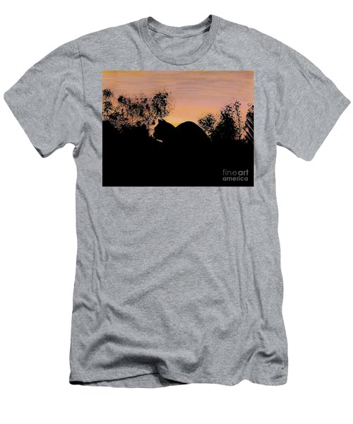 Cat - Orange - Silhouette Men's T-Shirt (Athletic Fit)