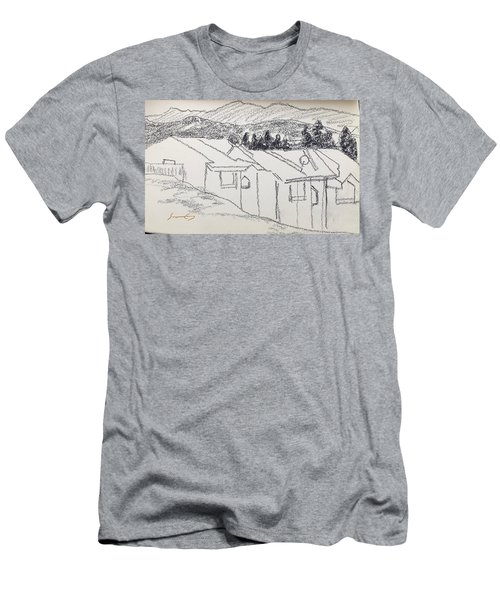 Charcoal Pencil Houses1.jpg Men's T-Shirt (Athletic Fit)