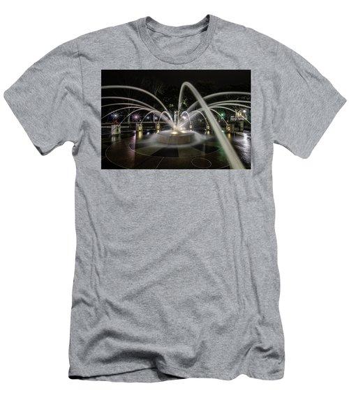 Charleston's Splash Fountain At Night Men's T-Shirt (Athletic Fit)
