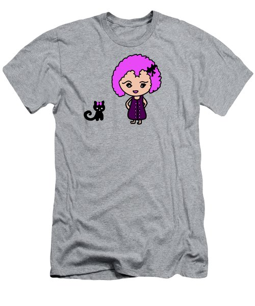 Chibu Girl And Cat Whimsy Men's T-Shirt (Athletic Fit)