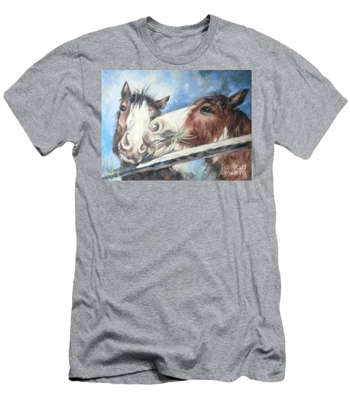 Men's T-Shirt (Athletic Fit) featuring the painting Clydesdale Pair by Ryn Shell