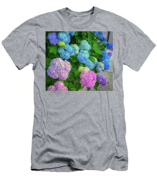 Men's T-Shirt (Athletic Fit) featuring the photograph Colorful Hydrangeas by Lora J Wilson