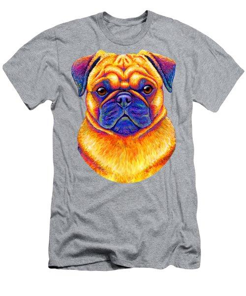 Colorful Rainbow Pug Dog Portrait Men's T-Shirt (Athletic Fit)