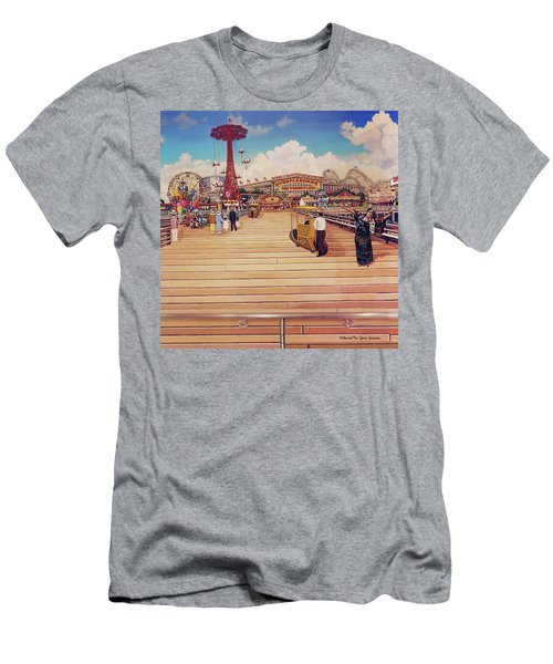Coney Island Boardwalk Pillow Mural #2 Men's T-Shirt (Athletic Fit)