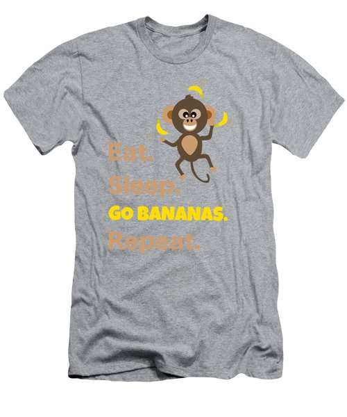 Cute Animal Money Juggling With Text Eat Sleep Go Bananas Popular Quote Men's T-Shirt (Athletic Fit)