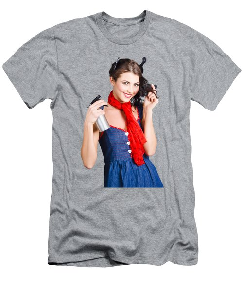 Cute Girl Model Styling A Hairdo. Pinup Your Hair Men's T-Shirt (Athletic Fit)