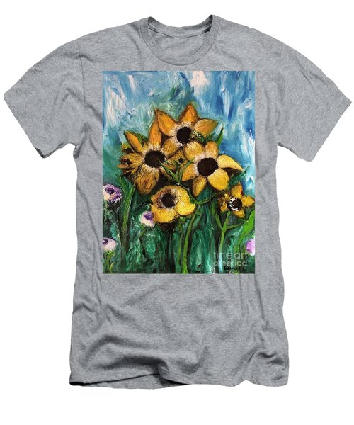 Men's T-Shirt (Athletic Fit) featuring the painting Dancing Flowers by Laurie Lundquist