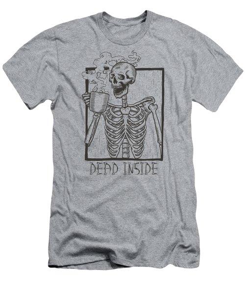 Dead Inside Skeleton Coffee Halloween Meme Men's T-Shirt (Athletic Fit)