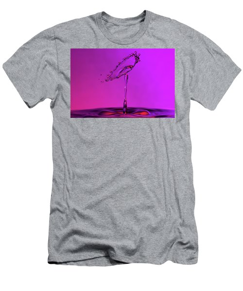 Men's T-Shirt (Athletic Fit) featuring the photograph Deep Purple Water Drop Collision by SR Green