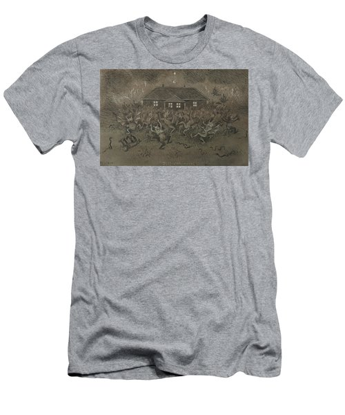 Men's T-Shirt (Athletic Fit) featuring the drawing Devil Hymn by Ivar Arosenius